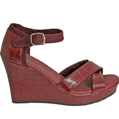 Women's Kaymann 4-inch Sandal Wedges - Burgundy Crocodile (Special Offer)