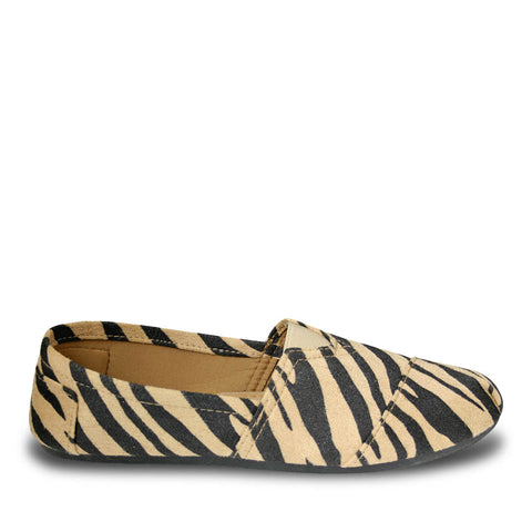 Women's Kaymann Exotic Flats - Black and Tan Safari