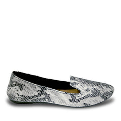 Women's Kaymann Exotic Smoking Slippers - Snake Print Black and White