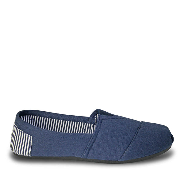Women's Kaymann Canvas Loafers - Navy Blue Striped Heel