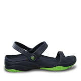 Kids' Premium 3-Strap Sandals - Navy with Lime Green