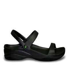 Women's Premium 3-Strap Sandals - Black with Black