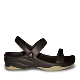 Women's Premium 3-Strap Sandals - Black with Tan