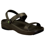 Women's Premium 3-Strap Sandals - Dark Brown with Black