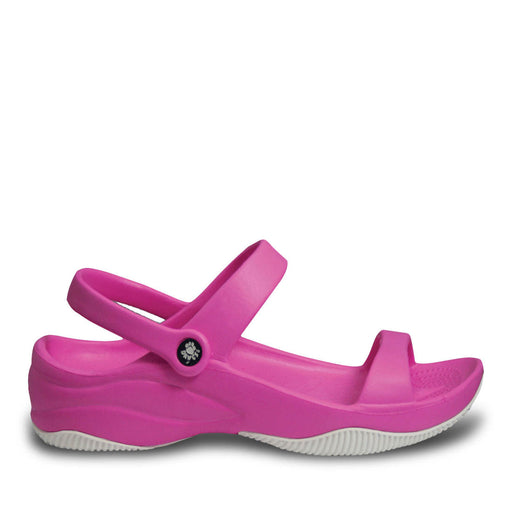 Women's Premium 3-Strap Sandals - Hot Pink with White