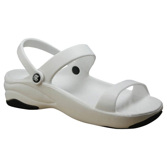 Women's Premium 3-Strap Sandals - White with Black