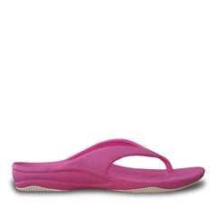 Women's Premium Flip Flops - Hot Pink with White