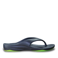 Women's Premium Flip Flops - Navy with Lime Green