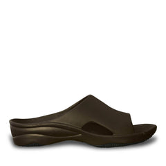 Women's Premium Slides - Dark Brown with Black