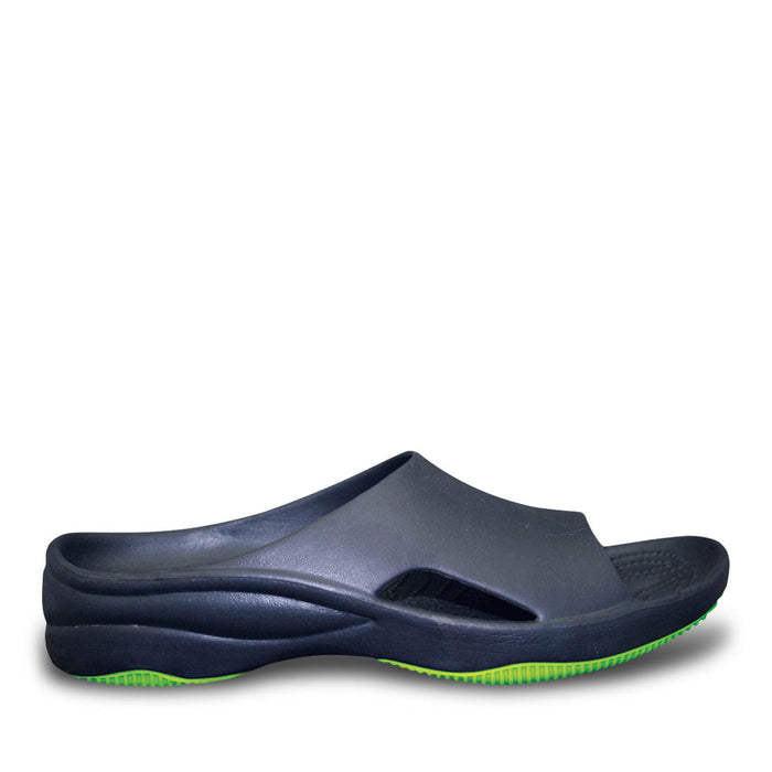 6cf520256c3459 Women s Premium Slides - Navy with Lime Green — USA DAWGS