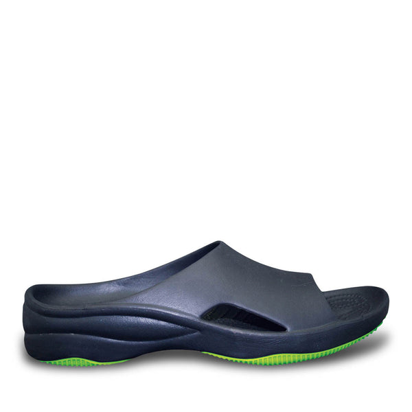Women's Premium Slides - Navy with Lime Green