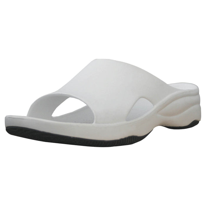 Women's Premium Slides - White with Black