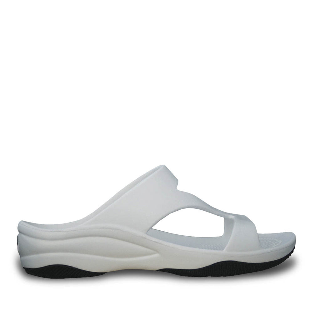 Women's Premium Z Sandals - White with Black
