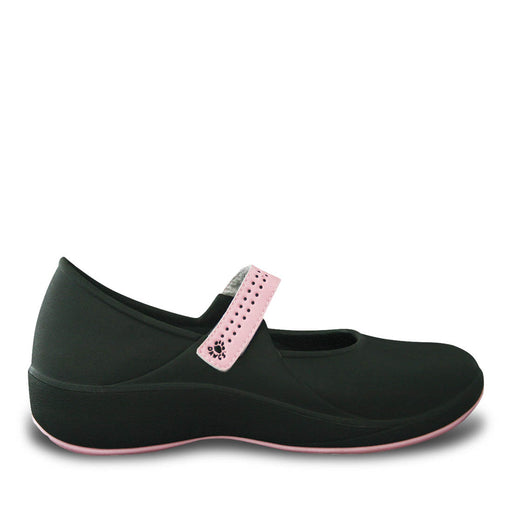 Women's Mary Jane Pro Work Shoes - Black with Soft Pink