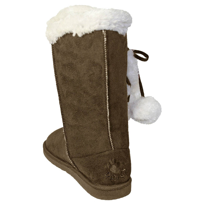 Women's 13-inch Side Tie Microfiber Boots - Chocolate