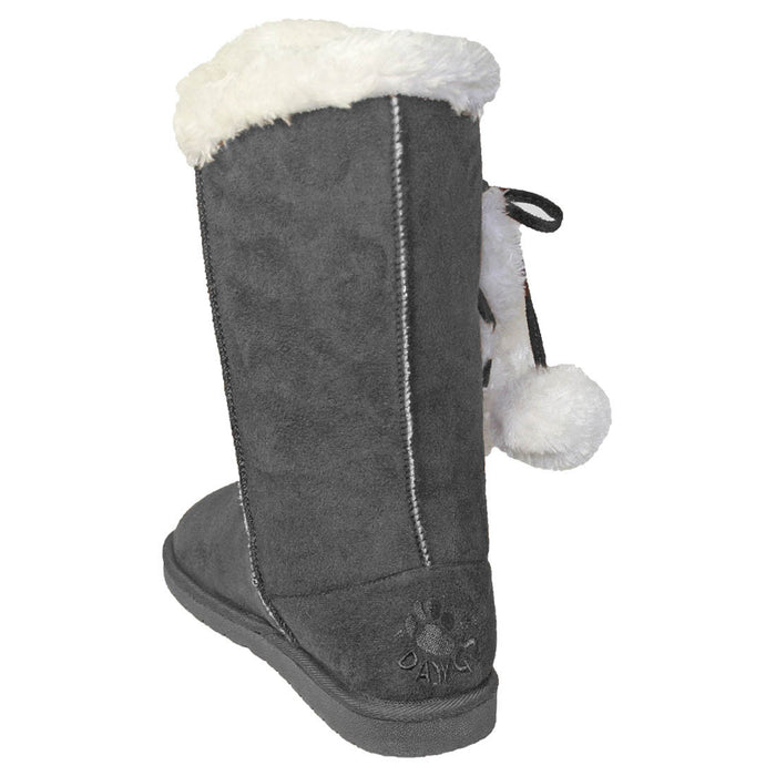 Women's 13-inch Side Tie Microfiber Boots - Gray
