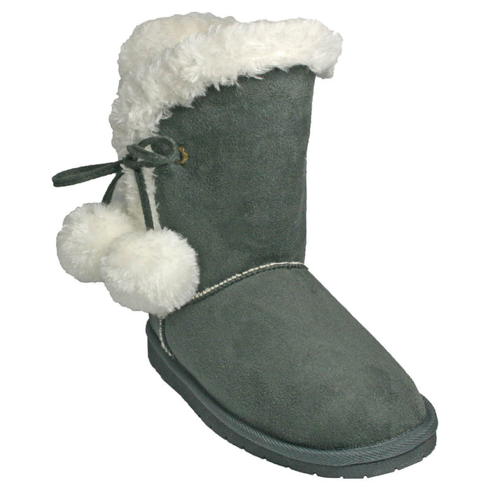 Women's 9-inch Side Tie Microfiber Boots - Gray