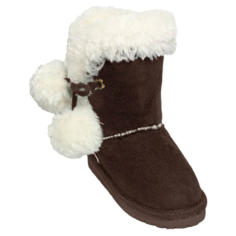 Girls' Side Tie Microfiber Boots - Chocolate