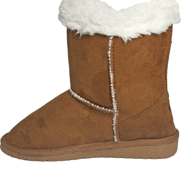 Girls' Side Tie Microfiber Boots - Chestnut