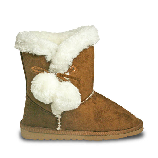 Toddlers' Side Tie Microfiber Boots - Chestnut