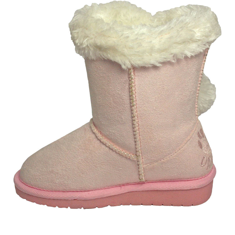 Toddlers' Side Tie Microfiber Boots - Pink