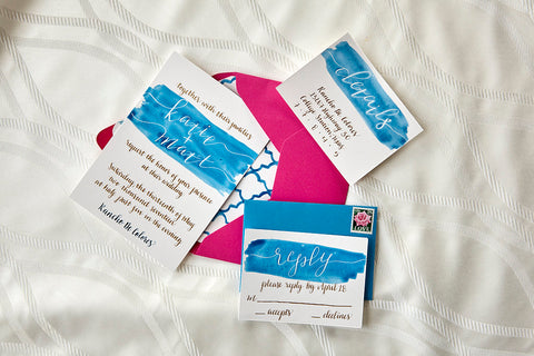 College Station Wedding Calligraphy Invitations Bliss Bridal Magazine Birdie Mae Designs