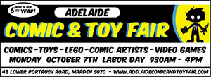 Visit us at the Adelaide Comic & Toy Fair on Labour Day Public Holiday