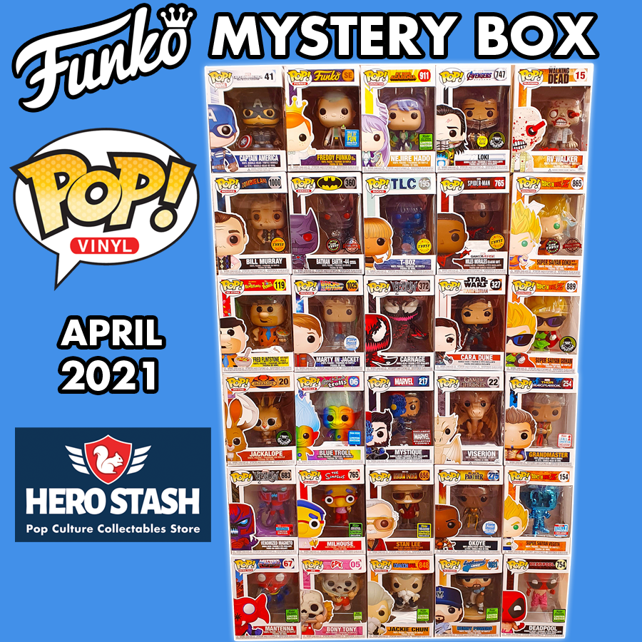 Hero Stash Pop! Vinyl Mystery Box - 3x Random Pop! Vinyl Figures Bundle - April 2021