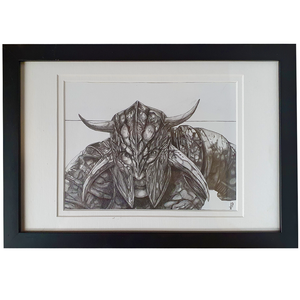 Artwork - Fine Art Pencil Sketch A4 with Frame - 'Ares'