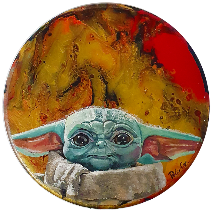 "Artwork - Acyrlic Painting Liquid Pour 7.5"" Diameter - 'Baby Yoda'"