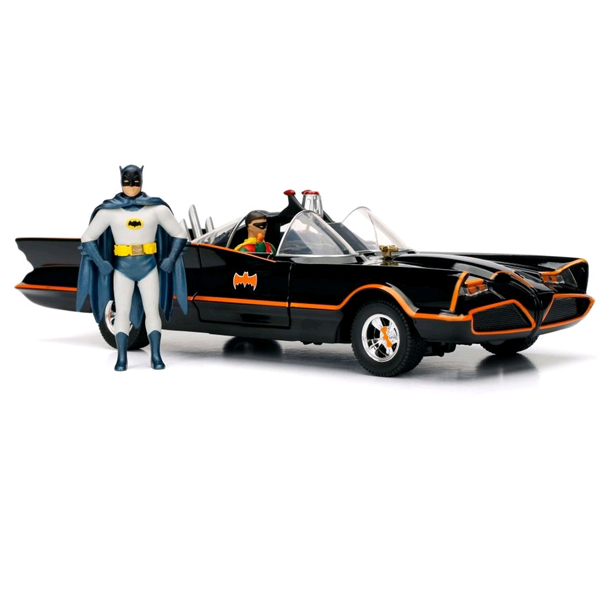Batman - 1966 Batmobile 1:24 Scale Die-Cast Car Replica w/Batman & Robin Action Figures
