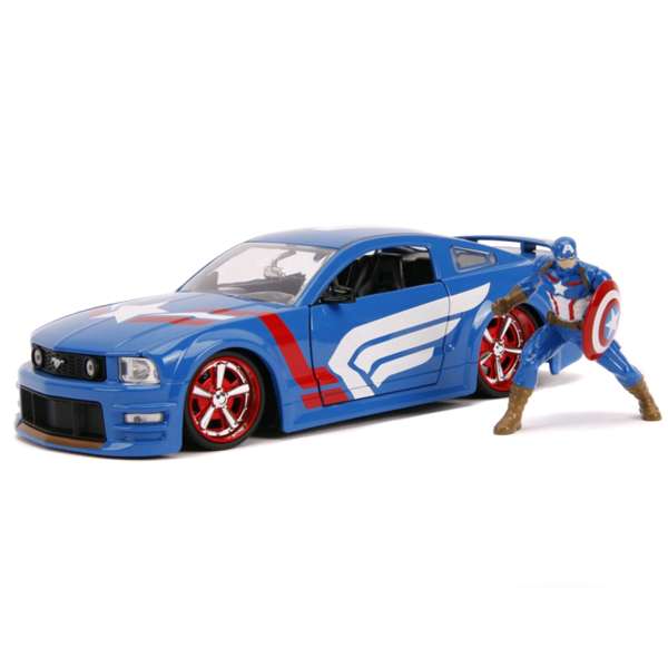 Marvel - 2006 Ford Mustang GT 1:24 Scale Die-Cast Car Replica with Captain America Figure