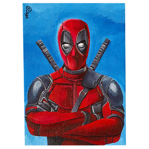 "Artwork - Acyrlic Painting 5""x7"" - 'Deadpool Arms Crossed'"