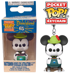 Disneyland 65th Anniversary - Matterhorn Bobsleds Attraction & Mickey Mouse Pocket Pop! Keychain