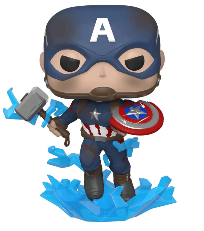 Avengers Endgame - Captain America with Electrified Mjolnir and Broken Shield Pop! Vinyl Figure