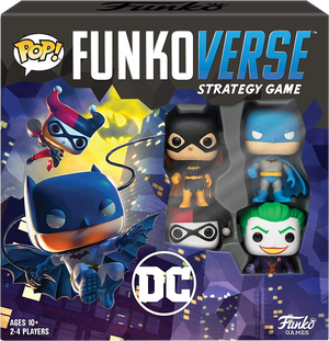DC Super Heroes - Batman, Batgirl, Harley Quinn & Joker Pop! Funkoverse Strategy Board Game 4-Pack