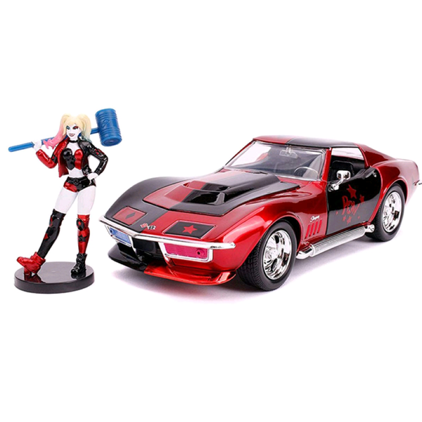 DC Comics - 1969 Corvette 1:24 Scale Die-Cast Car Replica with Harley Quinn