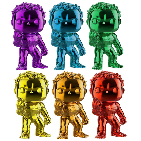 Avengers Endgame - Hulk with Nano Gauntlet (Chrome) Pop! Vinyl Figures Bundle
