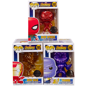 Avengers Infinity War - Thanos, Iron Man & Iron Spider Chrome Pop! Vinyl Figures Bundle