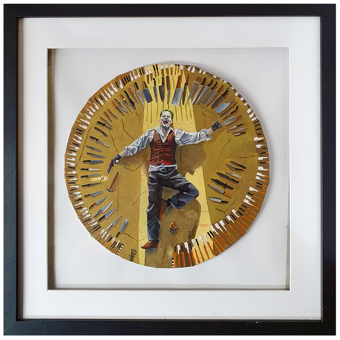 "Artwork - Acyrlic Painting 10"" Diameter with Frame - 'Joker Knives'"