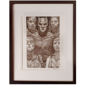 Artwork - Fine Art Pencil Sketch A4 with Frame - 'Justice League'