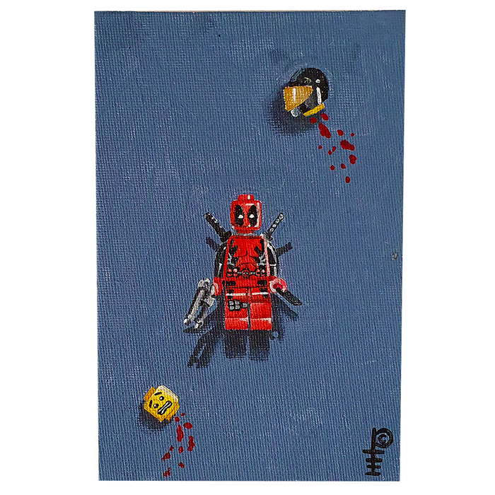 "Artwork - Acyrlic Painting 4""x6"" - 'Lego Deadpool'"