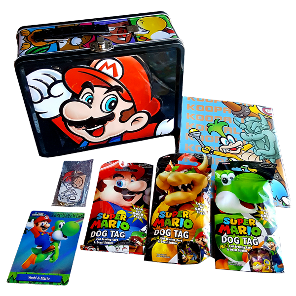 Super Mario Bros - Mario & Yoshi Collectable Tin, Trading Cards & Dog Tags