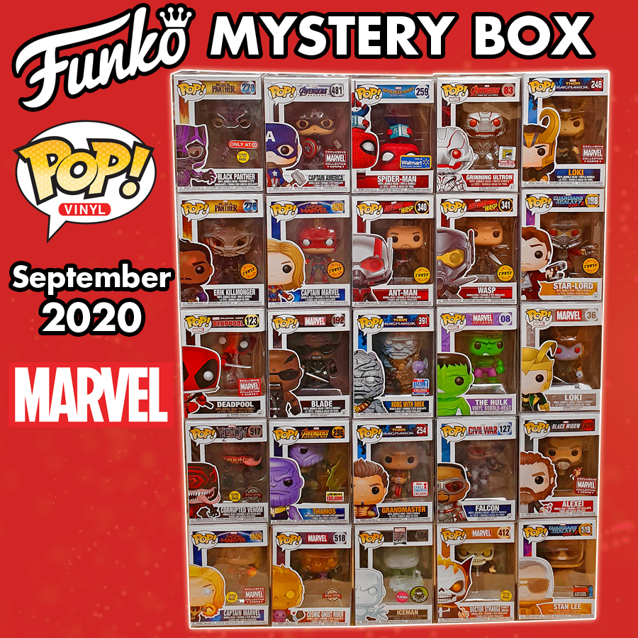 Hero Stash Pop! Vinyl Mystery Box - 3x Random Pop! Vinyl Figures Bundle - Marvel - September 2020