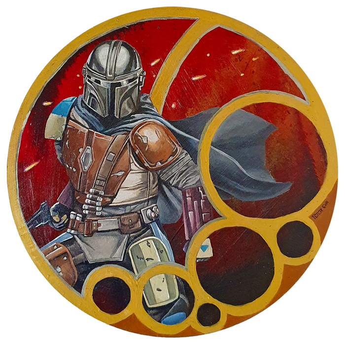 "Artwork - Acyrlic Painting Liquid Pour 10"" Diameter - 'The Mandalorian'"