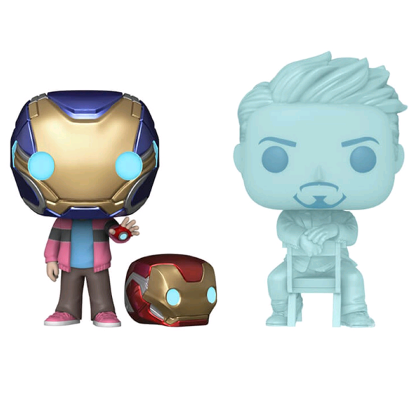 Avengers Endgame - Hologram Tony Stark & Morgan with Helmet Glow in the Dark Pop! Vinyl Figure 2-Pack