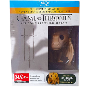 Game of Thrones - Season 3 Blu Ray Set with Viserion Pop! Vinyl Figure - Sealed