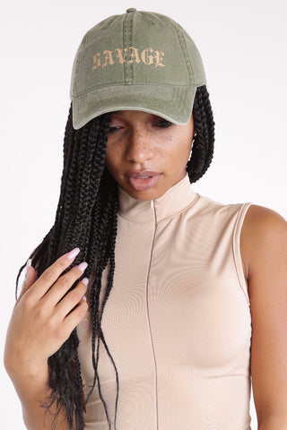 Olive Savage Cap - Dope Fein Boutique