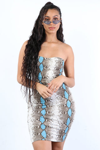 Blue Hue Snake Dress - Dope Fein Boutique