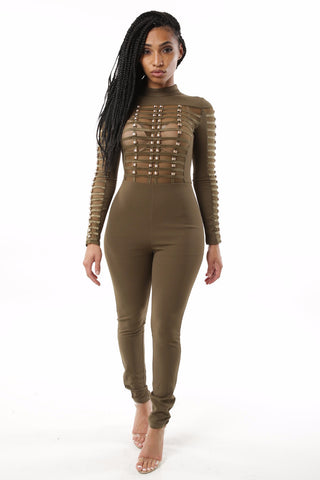 Salute Me Olive Jumpsuit - Dope Fein Boutique